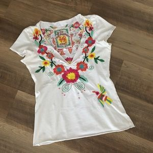 Johnny Was Bohemian Embroidered T-Shirt